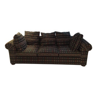 Modern Custom Upholstered Sofa, Loveseat With Loose, Large Pillows, Rolled Arms, Upholstered Feet & 2 Matching Ottomans For Sale