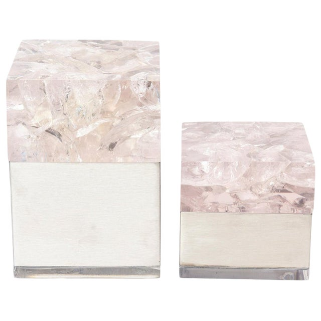 Pierre Giraudon Embedded Lucite and Stainless Steel Boxes-A Pair For Sale