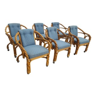 Vintage Twisted Rattan Arm Dining chairs Set Of - 6 .