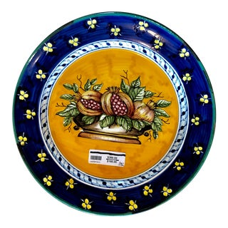 Large Italian Hand Painted Pomegranate Platter For Sale