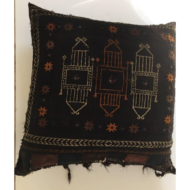 Textile Handmade Antique Collectible Afghan Baluch Saddle Bag Tribal Large Floor Cushion For Sale - Image 7 of 13