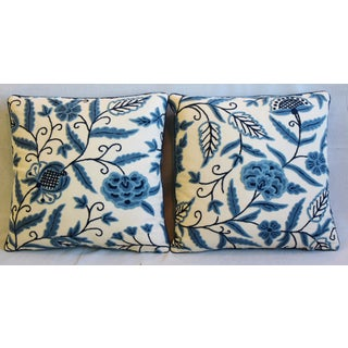 "Designer Blue & Cream Lee Jofa Crewel Feather/Down Pillows 21"" Square - Pair Preview"