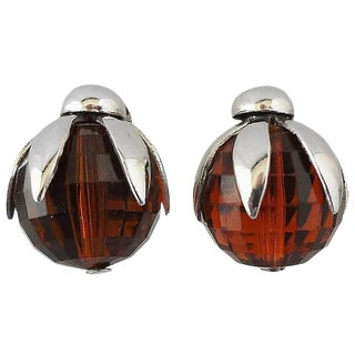 1950s Napier Faceted Faux-Topaz Earrings For Sale