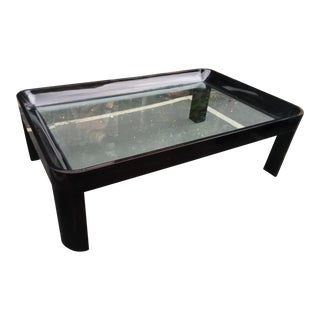 Vintage 1980's Black Lacquer Rounded Corner Coffee Table For Sale