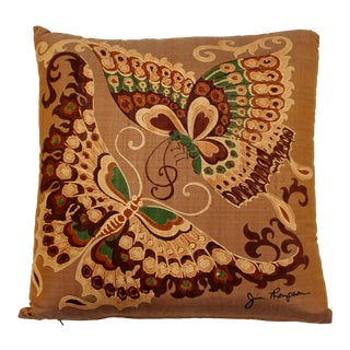 Mid-Century Modern Jim Thompson Designer Decorative Pillow With Butterfly Print For Sale