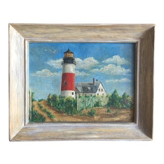 Mid-Century Coastal Seashore Painting of a Lighthouse For Sale