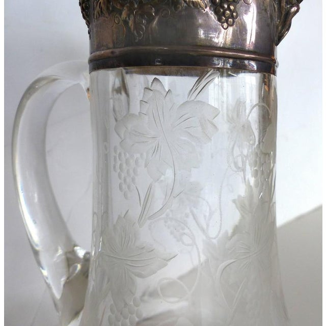 Traditional 19th Century Sterling Cut and Etched Claret Jug For Sale - Image 3 of 11