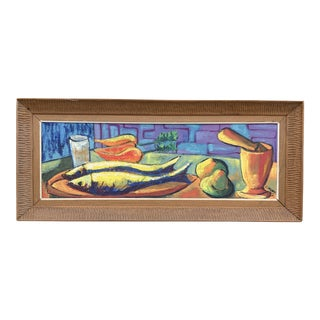 Luckner Lazard Colorful Still Life Painting 1964 For Sale