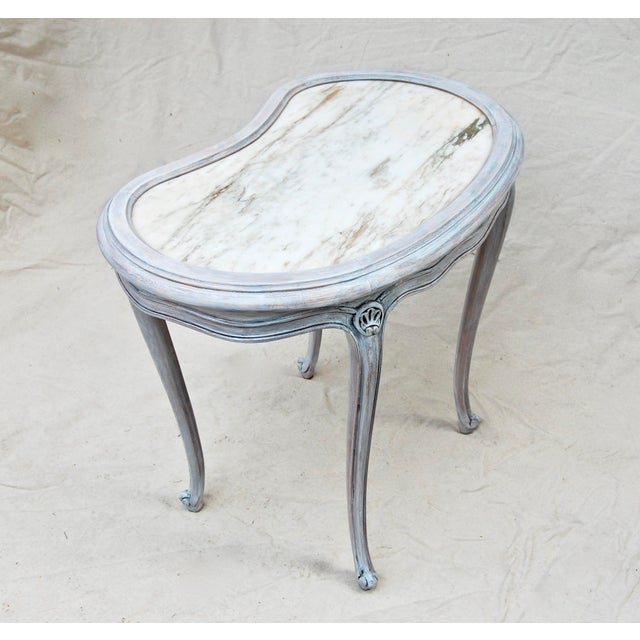 French Kidney Shape Marble Top Table For Sale - Image 9 of 12