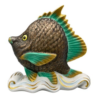 20th Century Herend Natural Hand Painted Bronze, Turquoise and Gold Porcelain Fish Figurine For Sale
