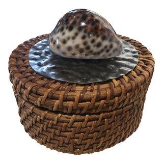 African Shell Woven Basket Box