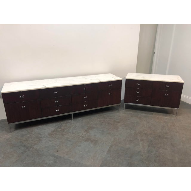 1960s Mid-Century Modern Florence Knoll Rosewood and Marble Credenza Ensemble - 2 Pieces For Sale - Image 12 of 13
