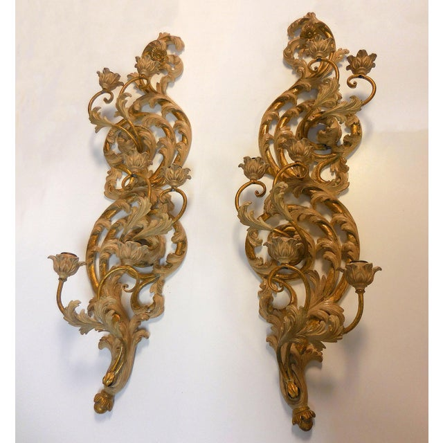 Italian Gilt Carved Wood Wall Sconces - A Pair - Image 2 of 9