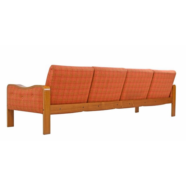 Vintage Original Scandinavian Bent Teak Plaid Wool Upholstered Sofa Couch, 1970s For Sale In Tampa - Image 6 of 7