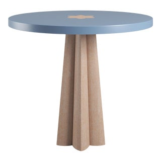 Danielle Side Table - Natural Cerused Oak - Summer Mist Blue For Sale