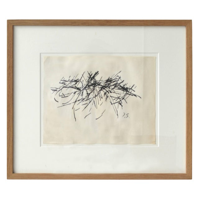 Framed Vintage Abstract Drawing by Jacques Germain For Sale - Image 4 of 4