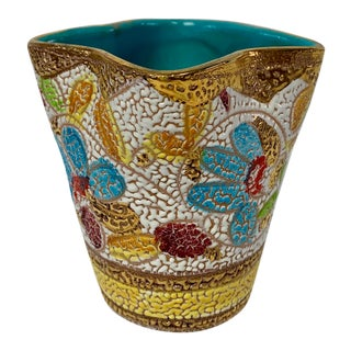 Fratelli Fanciullacci Italian Mid Century Multi-Color Pottery Vase For Sale