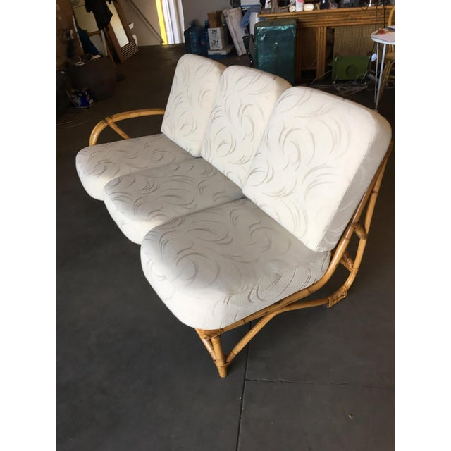 Yellow Restored 3/4 Round Pretzel Rattan Three Seater Sofa With Two Tier Table For Sale - Image 8 of 11