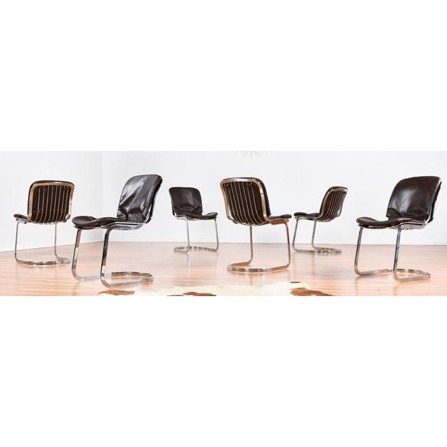 Vintage Cidue Italian Chrome & Leather Chairs - 6 - Image 2 of 5
