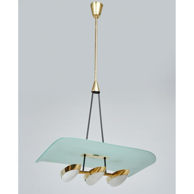 Angelo Lelii for Arredoluce Glass, Brass and Perspex Pendant Chandeliers, Italy 1950's - a Pair For Sale - Image 9 of 10