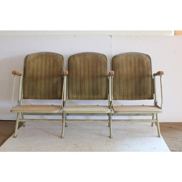 Industrial 1920's Vintage American Stadium Three-Seat Bench For Sale - Image 3 of 3