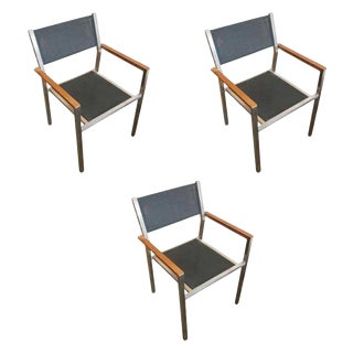 "Aluminum and Teak ""Ozon"" Armchairs by Royal Botania - Set of 3"