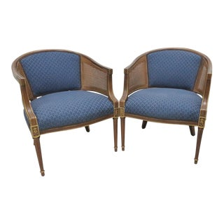 Louis XVI Style Fruitwood Caned Chairs - A Pair For Sale