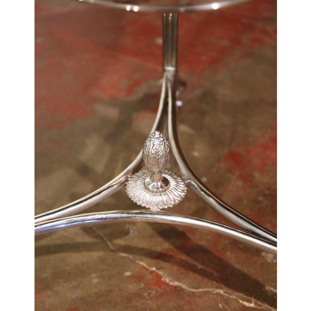 Vintage French Directoire Silver Plated Metal and Mirrored Top Guéridon Table For Sale In Dallas - Image 6 of 9