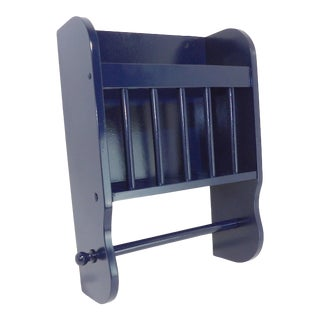 Satin Navy Blue Wall Mounted Bathroom Magazine Rack/Towel Holder For Sale