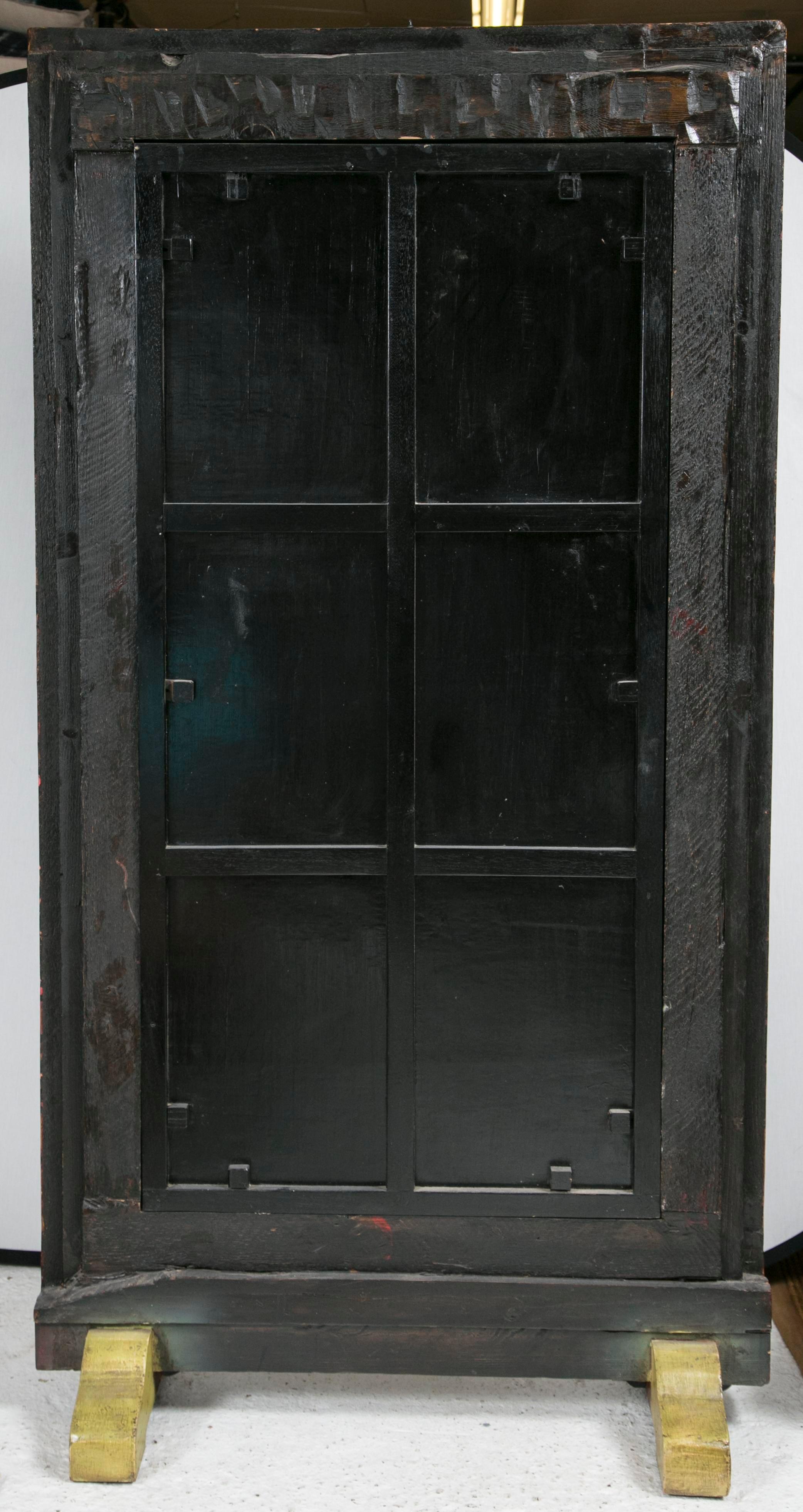 Brown Antique Tibetan Painted Door Mirror For Sale   Image 8 Of 11