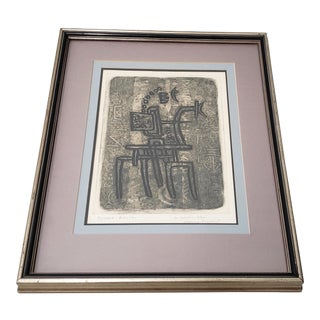 "Max Papart (1911 - 1994) ""The Blue Rider"" Original Etching W/ Aquatint C.1973 For Sale"