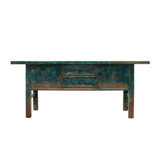 Chinese Distressed Blue 2 Drawers Sideboard Console Altar Table For Sale