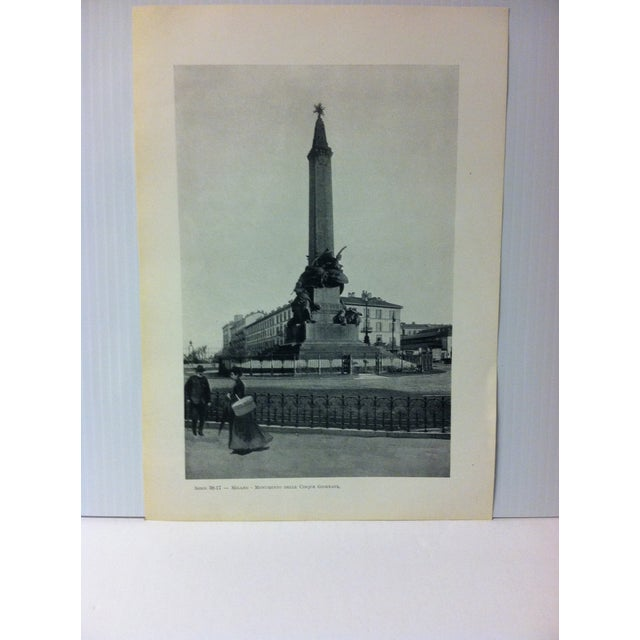 """This is a Vintage Print on Paper of Milano, Italy that is titled """"Monumento Delle Cinque Giornate"""". The Print was..."""