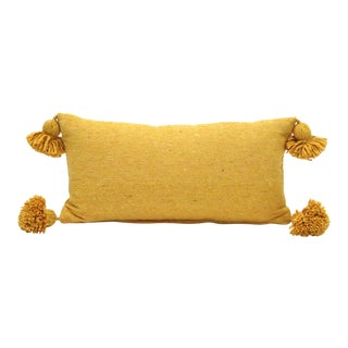 Gold Cotton Pom Pom Pillow For Sale