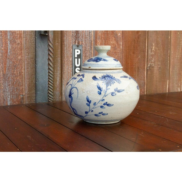 Fascinating Early 20th Century Blue and White Jar For Sale - Image 4 of 12
