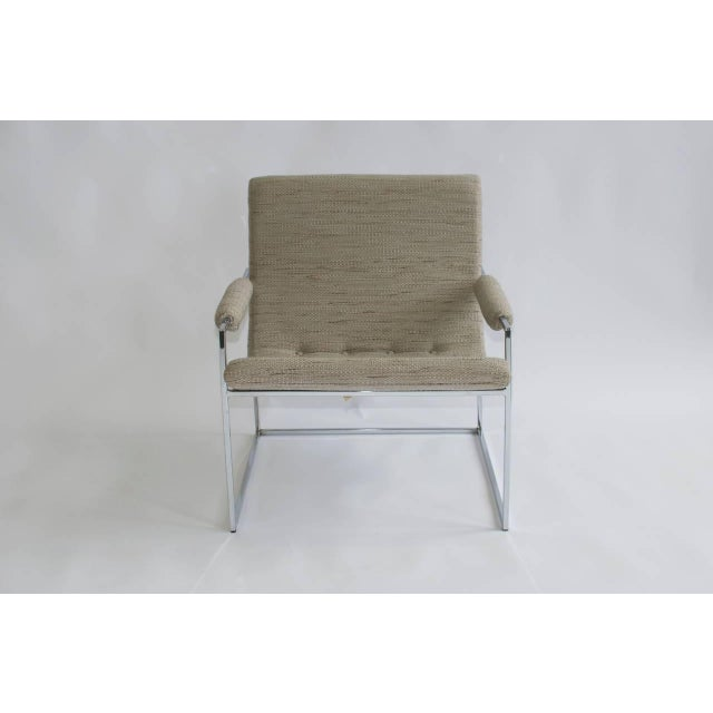 Milo Baughman Pair of Petite Milo Baughman Chrome Lounge Chairs For Sale - Image 4 of 7