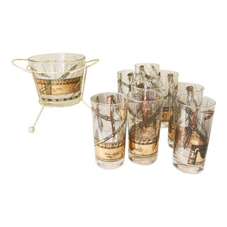 Vintage Mid-Century Modern Tom Collins Glasses & Ice Bucket - Set of 9 For Sale