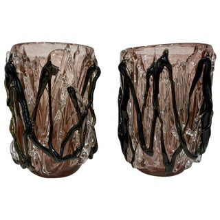 Costantini Italian Black Amethyst Clear Murano Glass Vases - a Pair For Sale