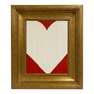 Ron Giusti Mini Heart Red Cream Acrylic Painting, Framed For Sale