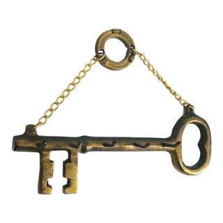 Vintage Brass Key Shaped Key Rack For Sale