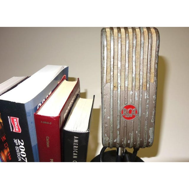 Metal 1945 RCA Vintage Broadcast Microphones As Bookends or As Sculpture. Rare and Original. For Sale - Image 7 of 10