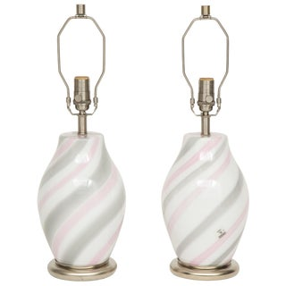 1970s Vetri Pink, Grey, White Murano Glass Lamps - a Pair For Sale