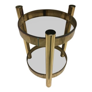 Mid-Century Brass & Smoked Glass Drink Table Baughman Style For Sale
