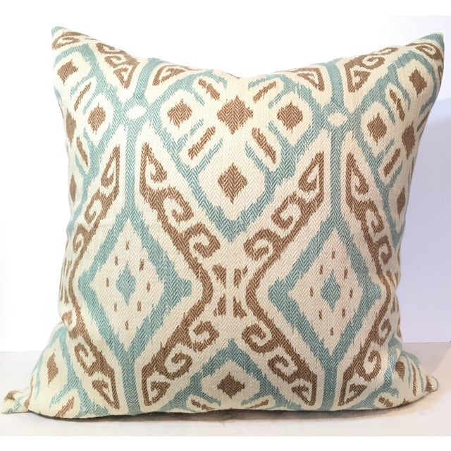 Taupe & Aqua Ikat Pillow - Image 2 of 4