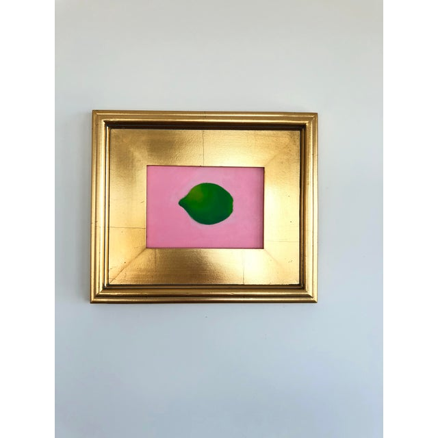 2010s Contemporary Lime on Pink Still Life Framed Painting For Sale - Image 5 of 6