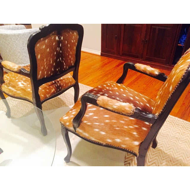 French Axis Deer Arm Chairs - Pair For Sale - Image 10 of 11