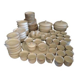 Vintage Lenox Beige Brushstrokes/Pinstripes Chinastone Dinnerware, 107 Pieces For Sale