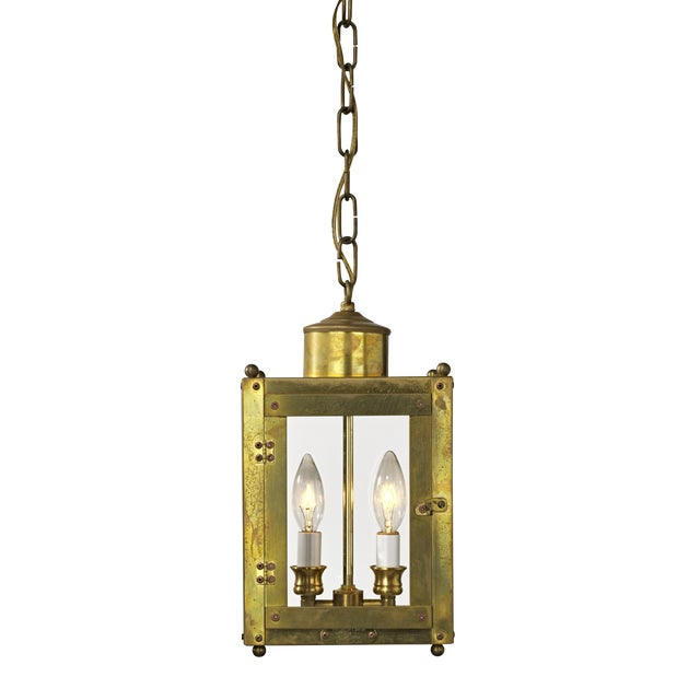 Late 20th Century Traditional Brass and Glass Two Light Lantern For Sale