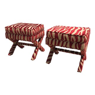 1990s Vintage Upholstered X-Base Ottomans - a Pair For Sale