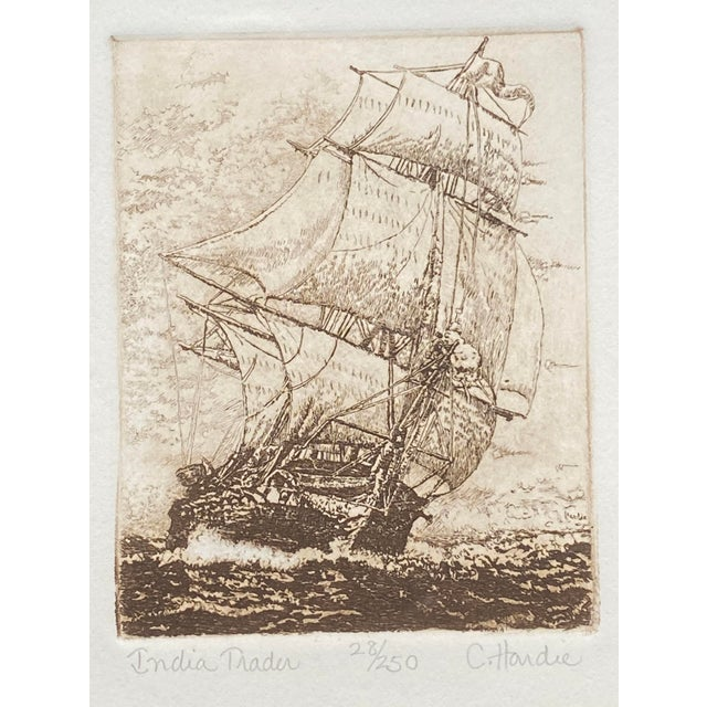 Nautical Late 19th Century 'India Trader' Nautical Etching After Charles Martin Hardie, Framed For Sale - Image 3 of 9